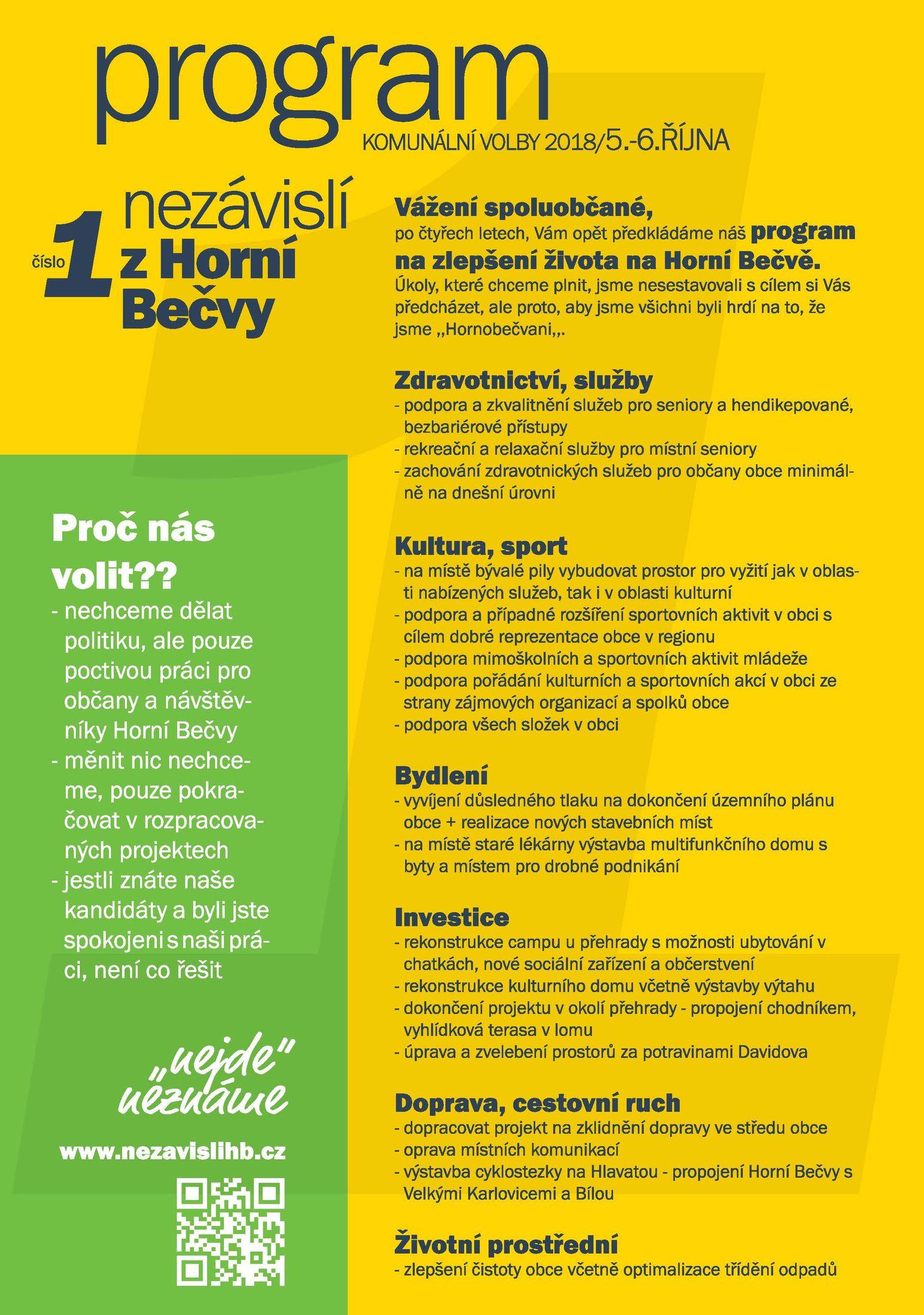 Program Nezávislých z Horní Bečvy - číslo 1